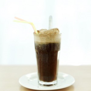 Cola Float with Two Straws in It